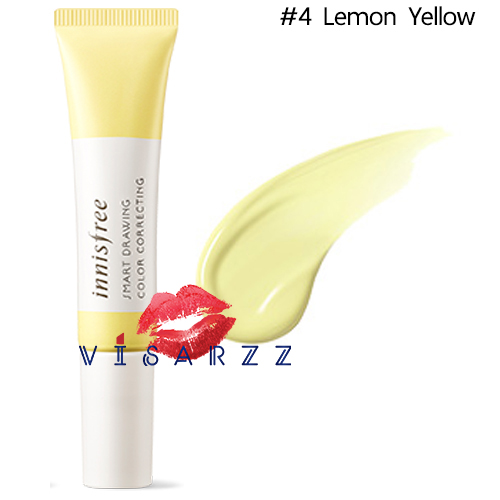 (#4 Lemon Yellow) Innisfree Smart Drawing Color Correcting 12mL เบสช่วยปรับสภาพสีผิวที่หมองคล้ำในจุดต่างๆ ให้สม่ำเสมอ สว่าง กระจ่างใสมากขึ้น เนื้อบางเบา ติดทนนาน มาในรูปแบบบรัชเพนแปรงปากกาใช้งานง่าย