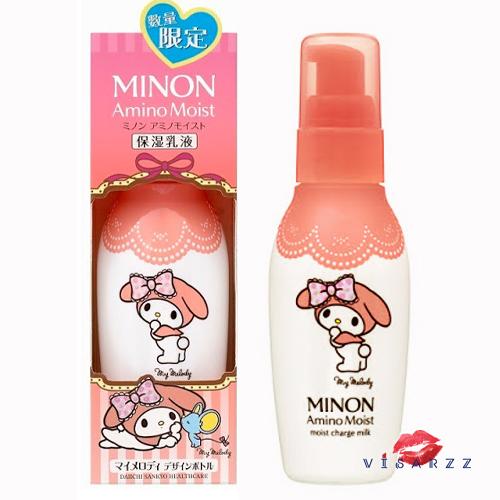 (Limited Edition My Melody ขวดลายที่ 2) Minon Amino Moist Charge Milk 100g มิลค์โลชั่นบำรุงผิวหน้า อ่อนโยนแม้ผิวบอบบางแพ้ง่าย มอบความนุ่มชุ่มชื้นให้ผิว ด้วยอะมิโน 9 ชนิด และส่วนผสมที่อ่อนโยนต่อผิวบอบบาง เก็บกักความชุ่มชื้นให้ผิว ป้องกันไม่ให้ผิวแห้งและเกิ