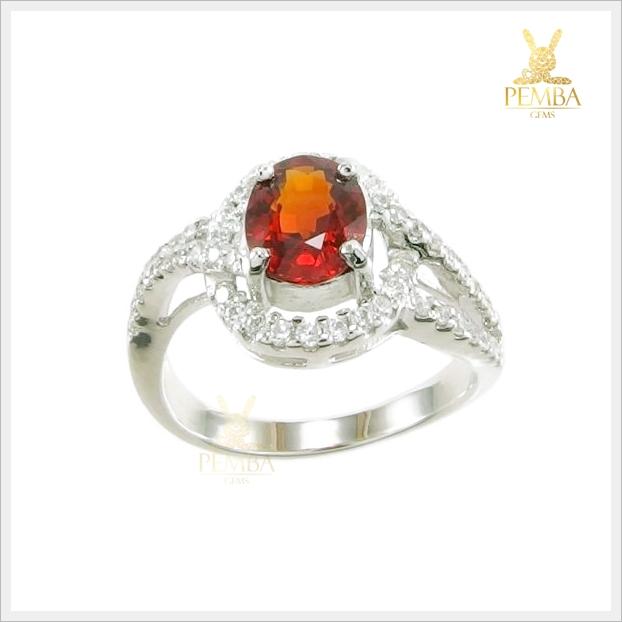 แหวนสเปสซาร์ไทต์การ์เนตแท้ สีส้มสวยใส ดีไซน์เก๋ๆ น่ารักๆ