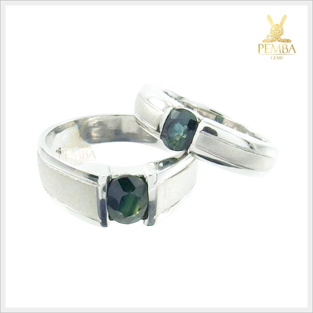 แหวนพลอยคู่รักFeel good พลอยเขียวส่องแท้(มรกตจันท์)
