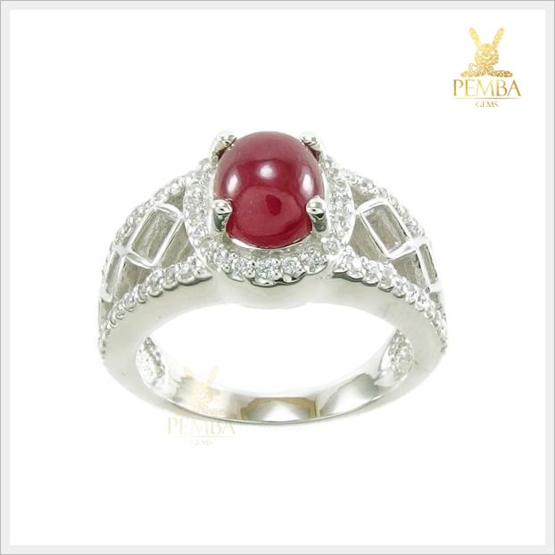 แหวนทับทิมแท้ หลังเบี้ย สีแดงเลือดนก สวยเก๋ดูดีมีสไตล์