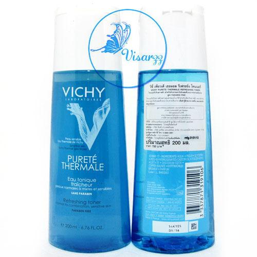 (Exp.03/17) Vichy Purete Thermale Refreshing Toner 200 mL โทนเนอร์ปรับสภาพผิว สำหรับผิวธรรมดาถึงผิวผสมที่บอบบาง แพ้ง่าย