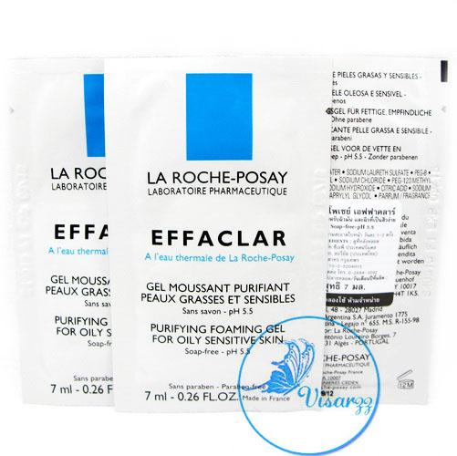 (Tester แพค 4 ซอง) La Roche-Posay Effaclar Purifying Foaming Gel for Oily Sensitive Skin 7 mL x 4 ซอง เจลล้างหน้าสำหรับผิวมัน ระคายเคืองง่าย