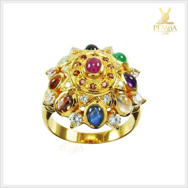 แหวนนพเก้า ตามตำราโบราณ ทองแท้ (สามารถสั่งทำได้ค่ะ)