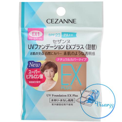 (Refill #EX1) Cezanne UV Foundation EX Plus SPF23 PA++ # EX1 Beige Cream แป้งรองพื้นรุ่นใหม่ล่าสุด เพิ่มความกระจ่างใสมากยิ่งขึ้น