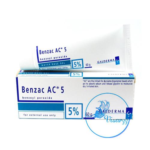 (ขายส่ง 275.-) Benzac AC Gel 5% หลอดใหญ่ 60g ประกอบด้วย Benzyl peroxide 5% เบนแซคใช้ทาเพื่อรักษาสิว ฆ่าเชื้อแบคทีเรียอันเป็นสาเหตุของสิว ทำให้หัวสิวหลุดออกจากตุ่มส