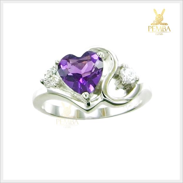 แหวนอเมทิสต์แท้ เพิ่มเสน่ห์ความสดใส สีม่วงสด