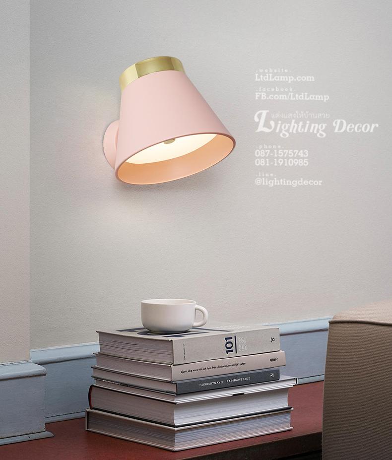 โคมไฟข้างเตียง สีชมพู โคมไฟสีหวาน สำหรับผู้หญิง