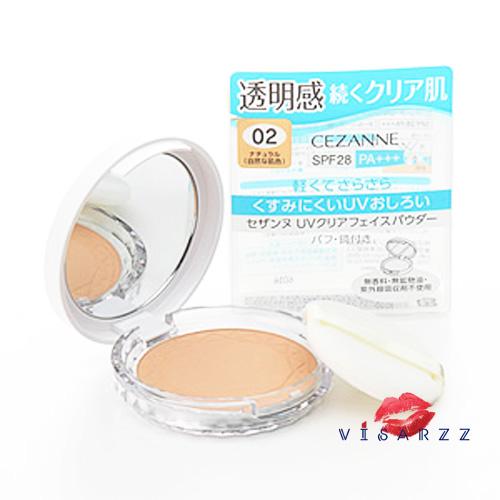 (#2 อันดับ 1 @Cosme 2016) Cezanne UV Clear Face Powder SPF28PA+++ #02 สำหรับผิวสองสี แป้งโปร่งแสงไม่ผสมรองพื้น บางเบาดุจขนนก ไม่อุดตันรูขุมขน มีส่วนผสมชิมเมอร์อนุภาคเล็กพิเศษ ผิวหน้าดูกระจ่างใส บางเบา คุมมัน ไม่เป็นคราบ
