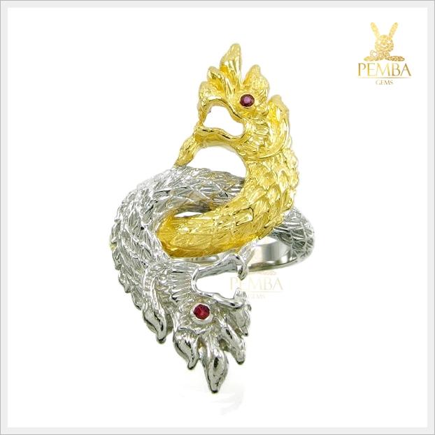 แหวนพญานาคราช 2 หัว ชุบ 2 สี เสริมดวงบารมี