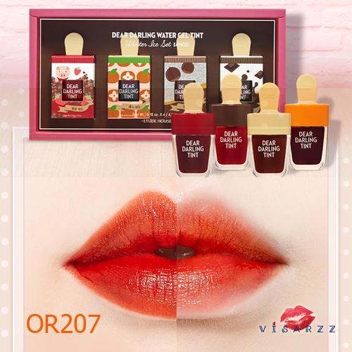 (#OR207 Limited Winter Ice Edition) Etude Dear Darling Tint Ice Cream 4.5g #OR207 ทิ้นเนื้อเจลแพคเกจไอติมน่ารักมากๆ ให้สีสันสดใส ติดทนนาน พร้อมบำรุงริมฝีปากให้ชุ่มชื้น