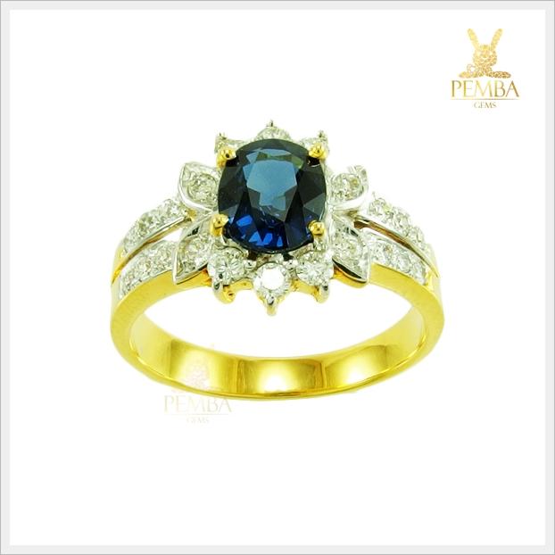 แหวนไพลินจันท์ หายาก ดีไซน์สวยเก๋ดูดีมีสไตล์(สามารถสั่งทำได้ค่ะ)