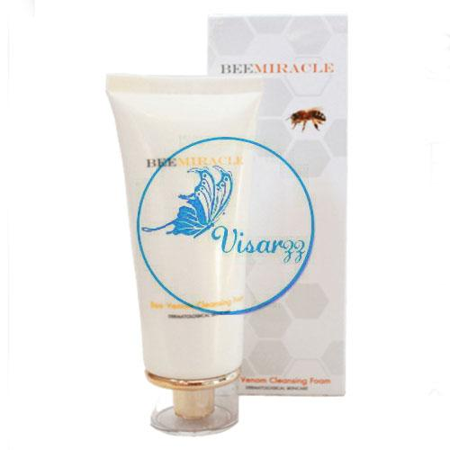 (exp.11/17) Bee Miracle Bee Venom Cleansing Foam 100gผลิตภัณฑ์ล้างหน้าเพื่อผิวดูอ่อนเยาว์ โฟมล้างหน้าสูตรสารสกัดจากพิษผึ้ง ช่วยให้ผิวกระชับ เต่งตึง ลดเลือนริ้วรอย