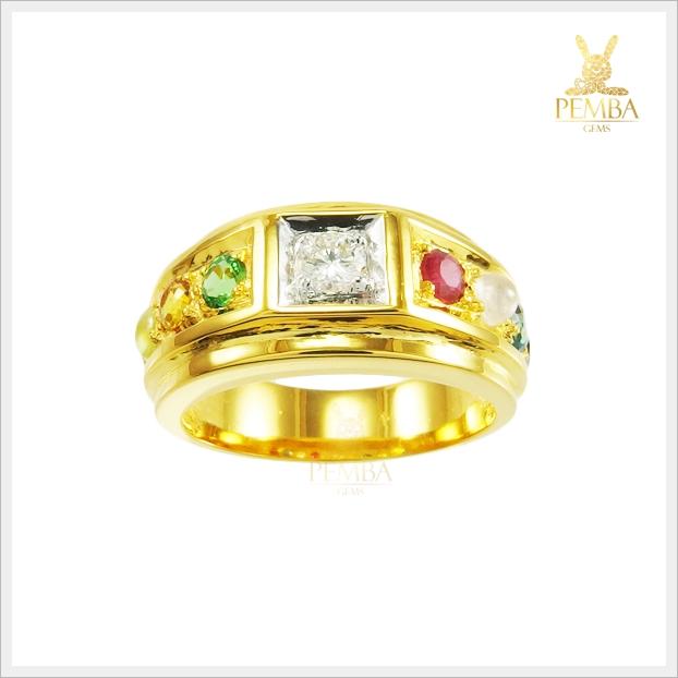 แหวนนพเก้า ทองแท้ เพชรแท้ (สามารถสั่งทำได้ค่ะ)