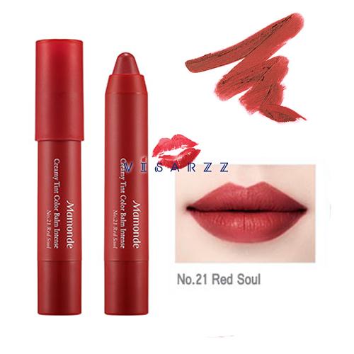 (#21 Red Soul) Mamonde Creamy Tint Color Balm Intense 2.5g ลิปแมทท์ที่ดังมากในประเทศเกาหลี สีแน่นคมชัด ไม่ทำให้ปากแห้งและจับตัวเป็นก้อน