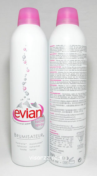 Evian Natural Mineral Water Facial Spray 300 mL (ขนาดใหญ่) น้ำแร่บริสุทธิ์ อุดมไปด้วยแร่ธาตุ ใช้ฉีดพรมบนใบหน้า
