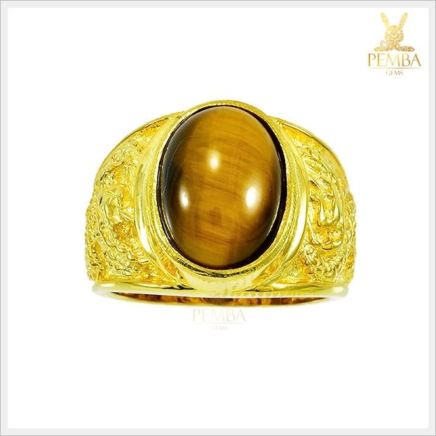 แหวนตาเสือ เงินแท้ ชุบทองคำ โดดเด่นสะดุดตา