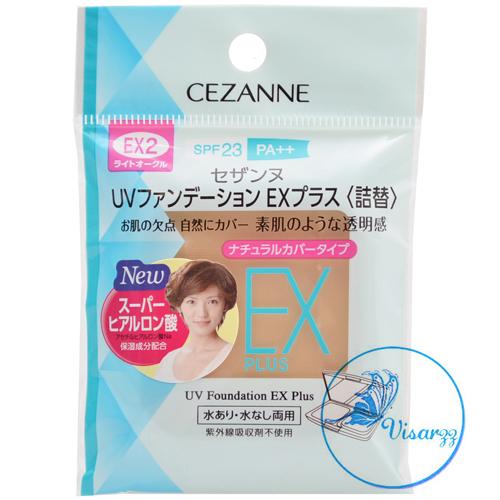 (Refill #EX2) Cezanne UV Foundation EX Plus SPF23 PA++ # EX2 Light Ochre แป้งรองพื้นรุ่นใหม่ล่าสุด เพิ่มความกระจ่างใสมากยิ่งขึ้น