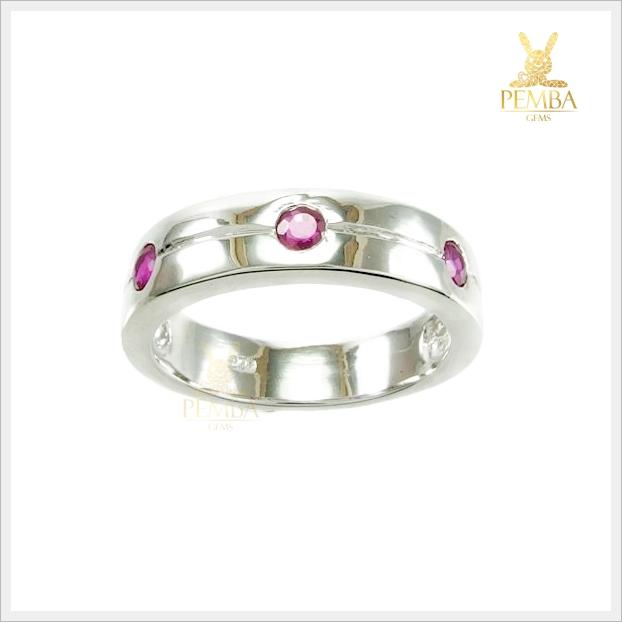 แหวนทับทิมแท้ ชุบทองคำขาว