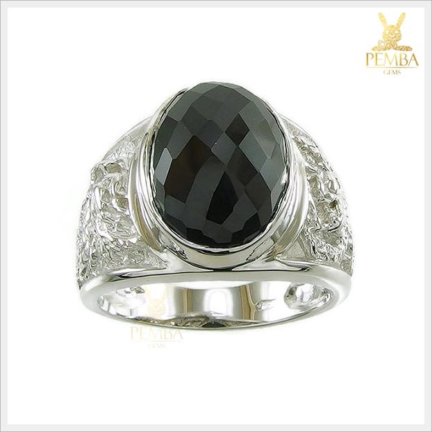 แหวนนิลแท้ เงินแท้925 ชุบทองคำขาว ดีไซน์ลายมังกร