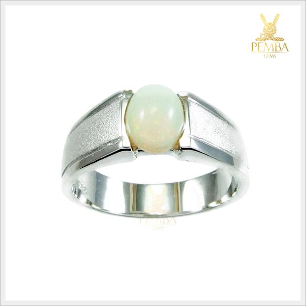 แหวนโอปอลแท้ เงินแท้ ชุบทองคำขาว