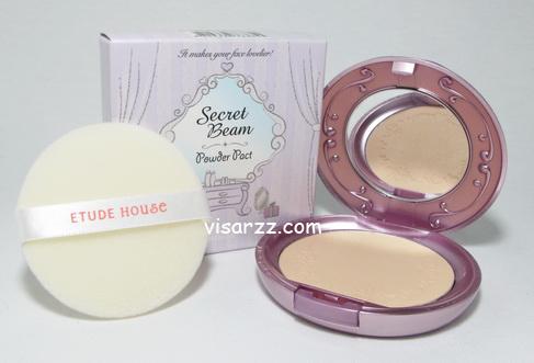 Etude Secret Beam Powder Pact # 2 Natural Pearl Beige สำหรับผิวสองสี แป้งโปร่งประกายมีวิ๊งๆ Shimmer ให้ใบหน้าประกายผ่อง