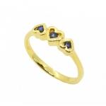 แหวนไพลินรูปหัวใจ ตัวเรือนอัลลอยด์หุ้มทองคำแท้