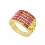 แหวนทับทิม 5 แถว ตัวเรือนอัลลอยด์หุ้มทองคำแท้