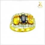 แหวนบุษราคัม ไพลิน ทองแท้ เพชรแท้(ขายแล้ว)