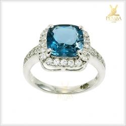 แหวนลอนดอนบลูโทแพซแท้ อัญมณีสีน้ำเงินเข้มสวยงาม