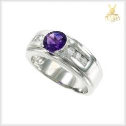 แหวนอเมทิสต์แท้ ทรงกลม สีม่วงสดใสทรงเสน่ห์