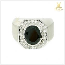 แหวนนิลแท้ เงินแท้ ชุบทองคำขาว โดดเด่นเต็มๆ นิ้ว