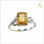 แหวนซิทรินแท้ ทรงสี่เหลี่ยม เงินแท้ชุบทองคำขาว