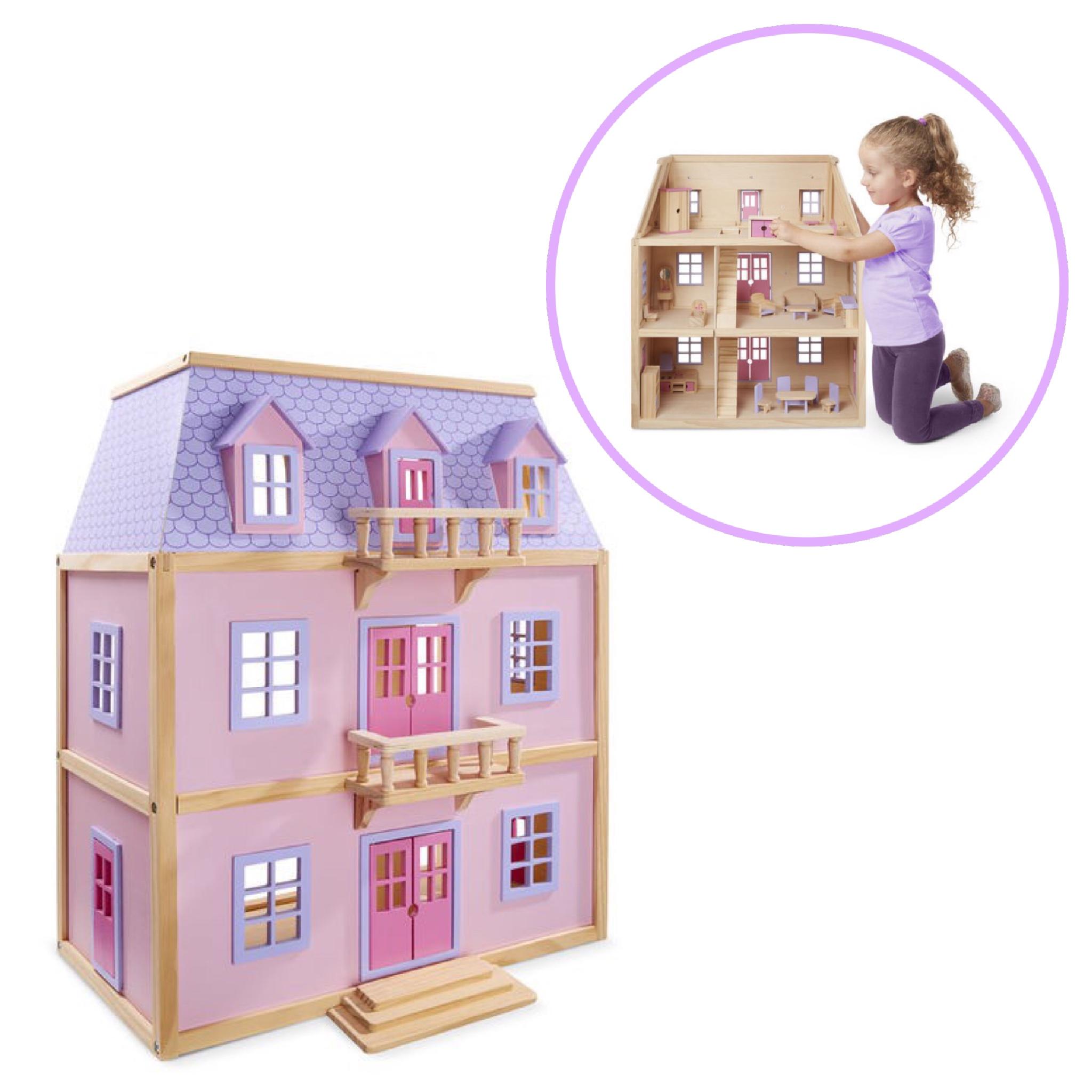 บานตกตาไมเนอแขงปลอดสารพษ Melissa Doug Multi Level Solid Wood Dollhouse